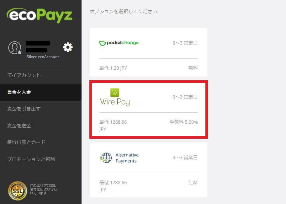 ecoPayz(エコペイズ)にWire Payしオンラインカジノに入金する流れ