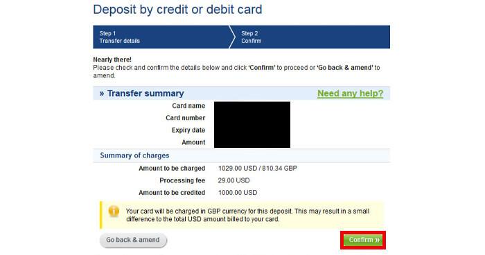 (Transfer summary)を確認し、問題なければ「confirm」をクリック
