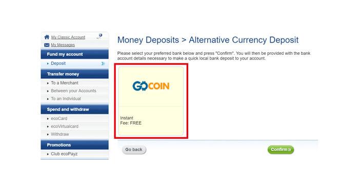 [GO COIN]と書かれたロゴが表示されるので、クリック