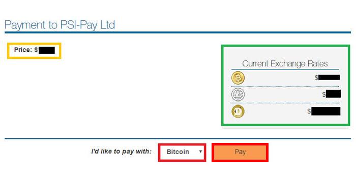 仮想通貨のレートが表示された画面に移行するので、▼を押し→利用する仮想通貨を選択し「Pay」