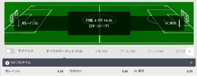 柏レイソル対FC東京のオッズ