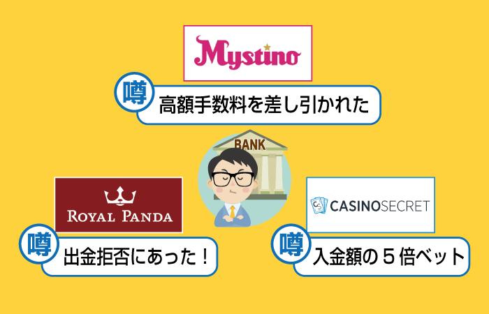 銀行送金で直接出金できるがおすすめできないオンラインカジノ