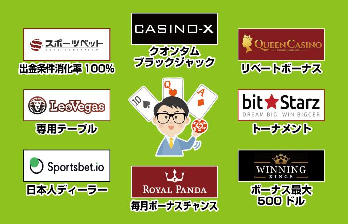 ブラックジャックでおすすめのオンラインカジノ8選を紹介