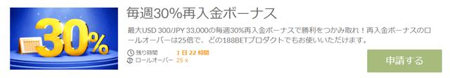 30%入金ボーナス
