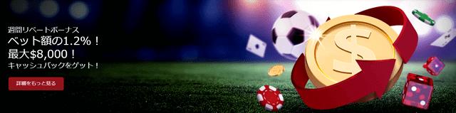 ポーカーのプレイでも利用できるスポーツベットのリベートボーナス