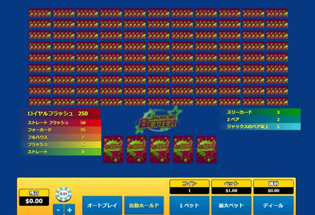 一気に多くの賭けを行いたいプレイヤーにおすすめのポーカー『Jacks or Better 100 Hand』