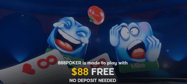 888Pokerの88ドル分の無料登録ボーナス