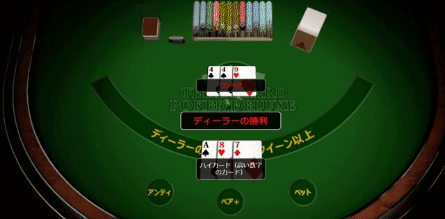 オンラインカジノでプレイできるポーカー【スリーカードポーカー】