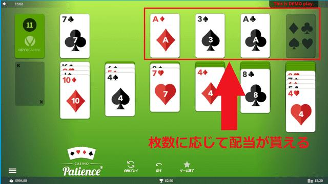 ソリティアは赤枠で囲った部分(スーツスタック)に置いたカードの枚数に応じて配当を獲得できる