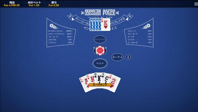 ポーカーがプレイできるオンラインカジノ【エンパイアカジノ】のロシアンポーカー