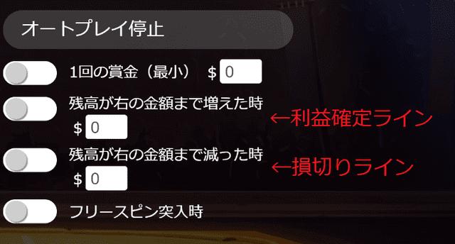 利益確定ラインと損切りラインを予め設定できるゲーム