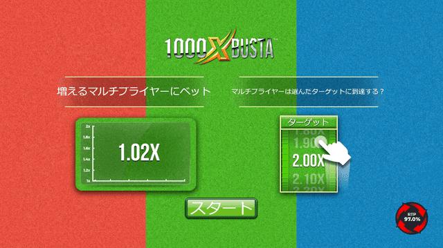 オンラインカジノのゲームで最も高い確率で勝利できる「1000X Busta」