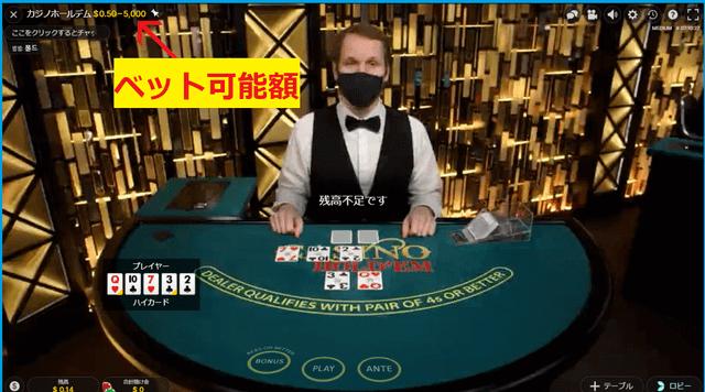 オンラインカジノのテキサスホールデムポーカーのテーブルごとの賭け金額の上限