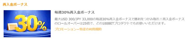188betの毎週最大で3万3000円を貰える入金ボーナス