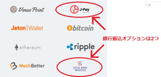 銀行振込オプションは「J-Pay」と「Bank Transfer」の2種類