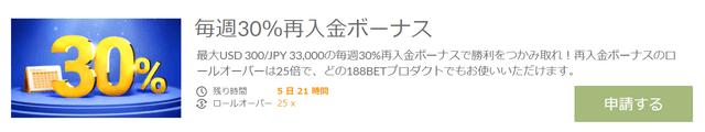 毎週1回最大3万3000円分の30%ボーナス