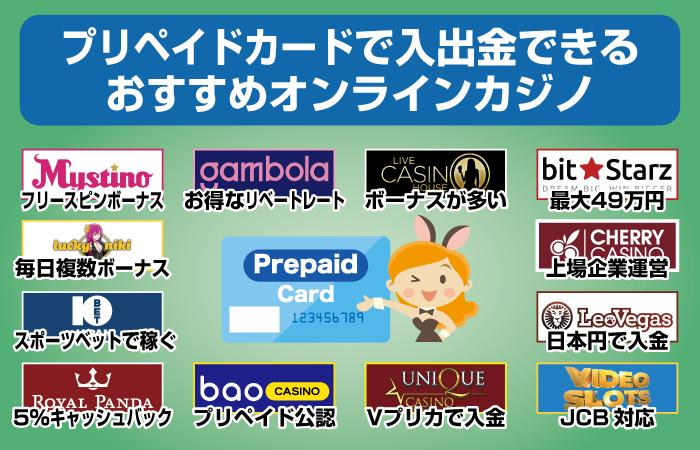 プリペイドカードで入出金できるオンラインカジノおすすめ