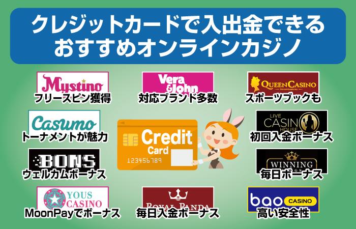 クレジットカードで入出金できるオンラインカジノおすすめ