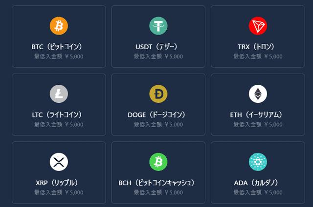 カジノインで決済可能な仮想通貨一覧