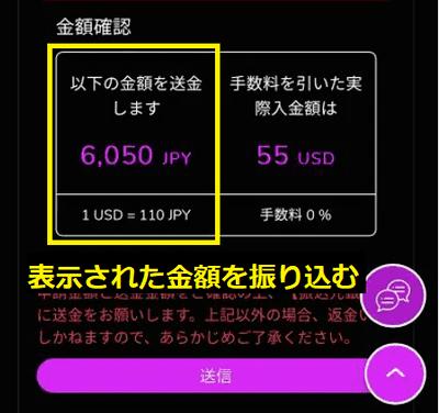 日本円金額が表示されるので、必ず指定の金額きっかりを振り込む