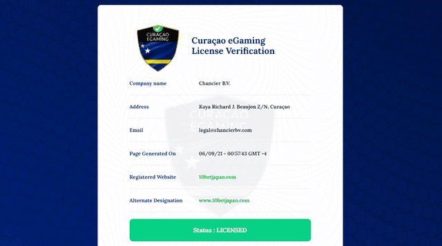 10betが取得しているオランダ領キュラソー島のライセンス