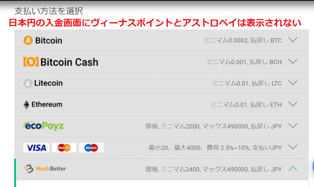ビットスターズの入金方法選択画面