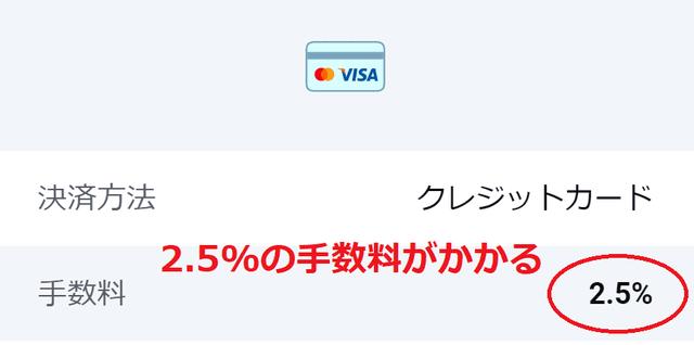 クレジットカード入金は2.5%の手数料がかかる