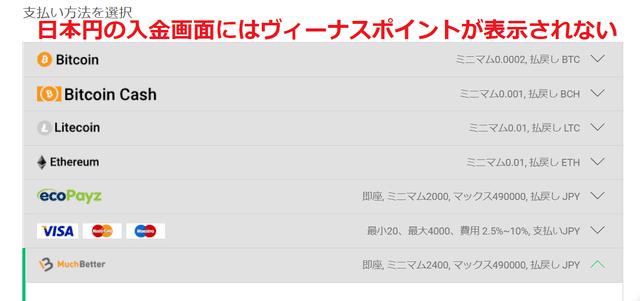 日本円の入金画面にはヴィーナスポイントが表示されない