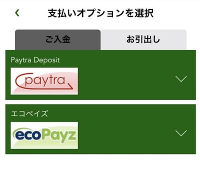入金方法の選択
