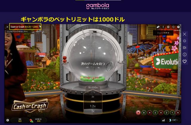 ギャンボラのベットリミットは1000ドル