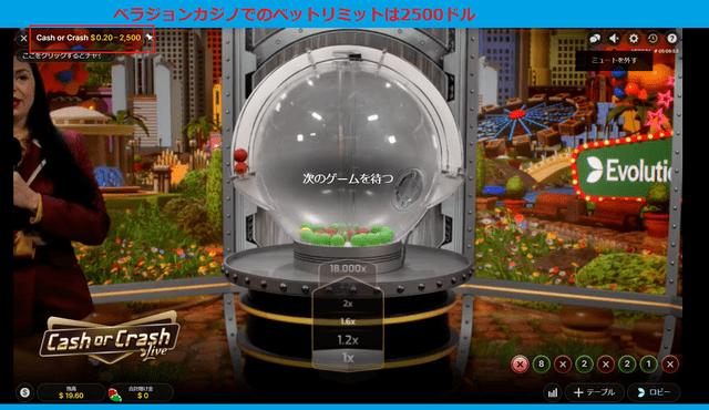 ベラジョンカジノでのベットリミットは2500ドル
