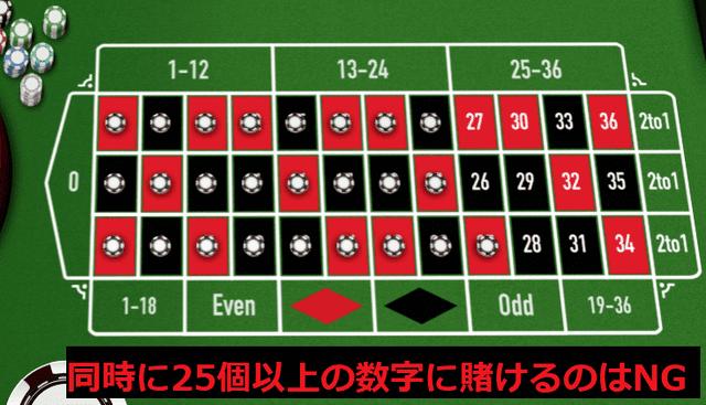 全部で25個以上の数字をカバーする賭け式
