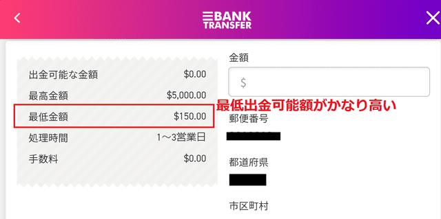 銀行送金の最低出金可能額は150ドル
