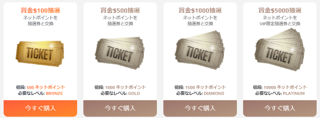 クラブショップで購入できる「賞金抽選会のチケット」