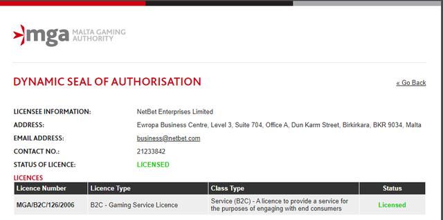 ネットベットはマルタ共和国のライセンスを取得