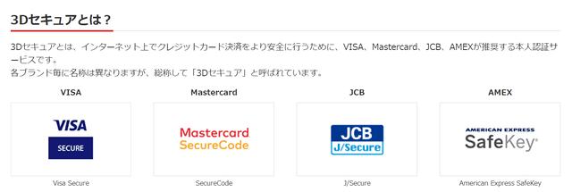 クレジットカードの3Dセキュア設定