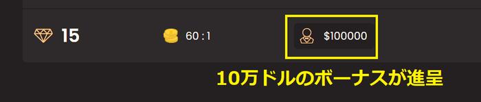 昇格特典は1300万円(10万ドル)のボーナス