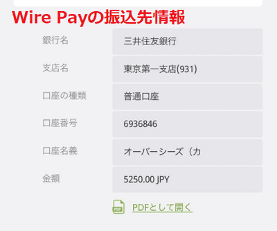 Wire Payでは三井住友銀行の指定口座に振込を行う形