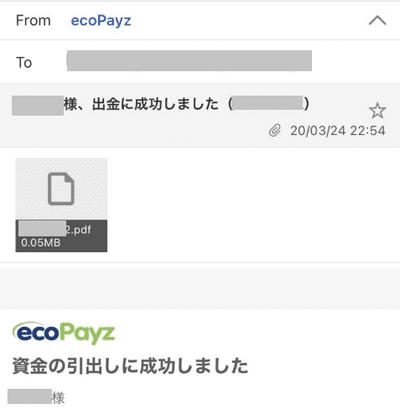 エコペイズからの出金完了通知メール