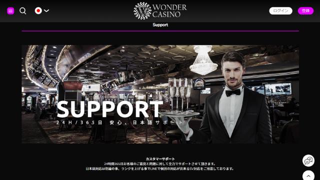 オンラインカジノのサポート